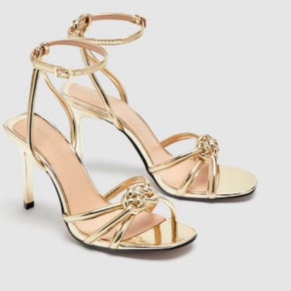 afd04b0003d Zara gold strappy heels with braided detail NWT